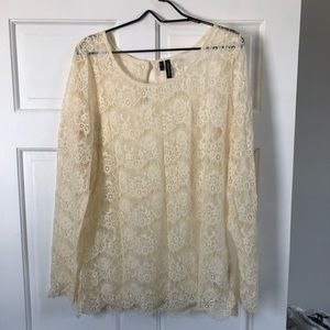 Cream sheer lace blouse